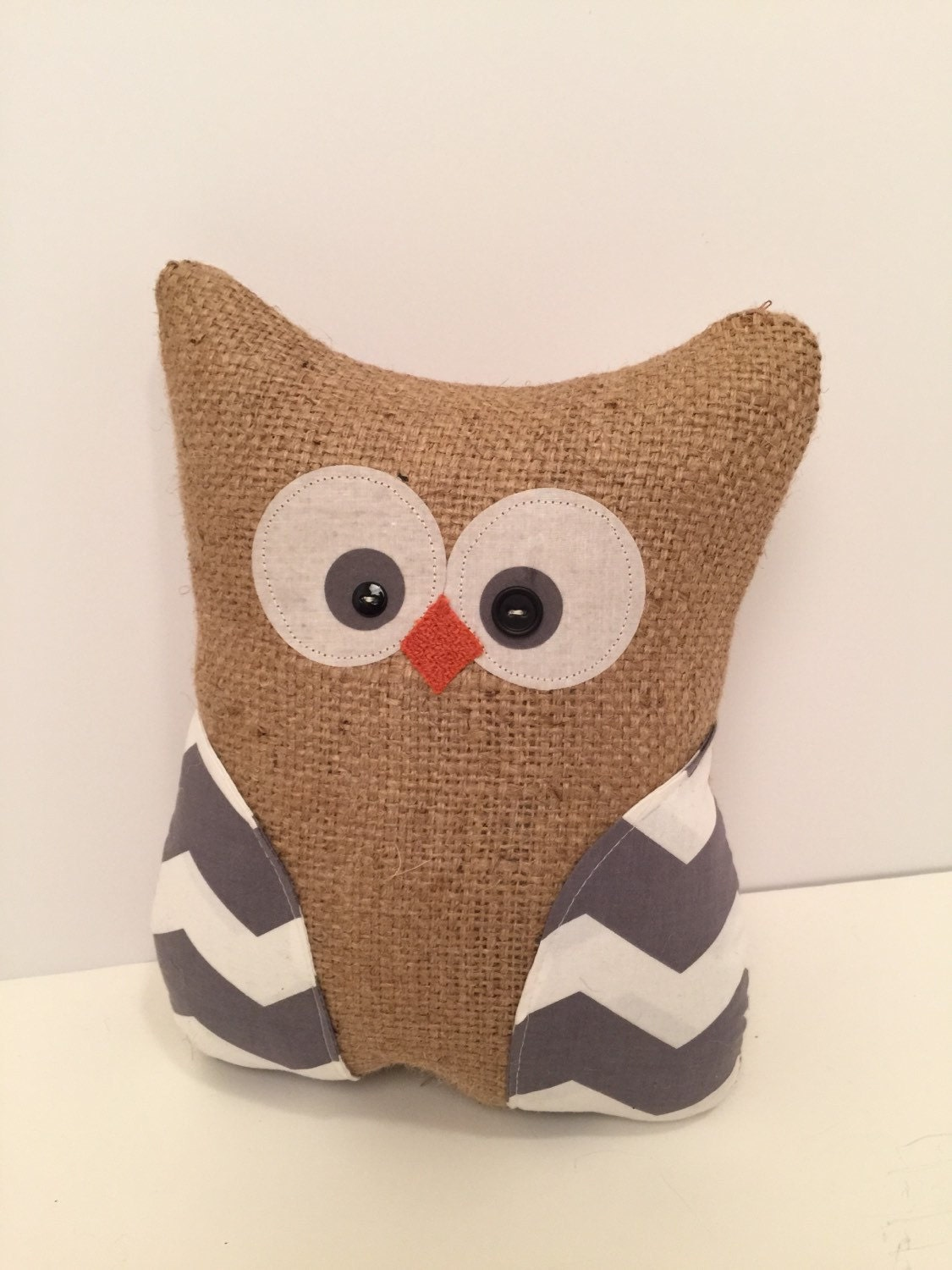 Handmade owl pillow burlap owl stuffed owl by thelittlegreenbean
