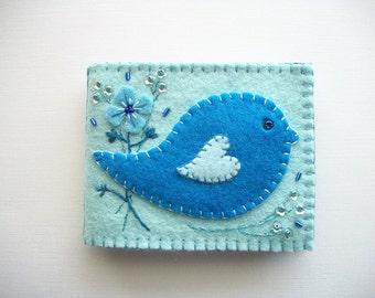 Needle Book Pastel Blue Felt Needle Keeper with Folk Art Bird and Hand Embroidered Felt Flower and Flower Sequins Handsewn