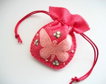 Wedding Ring Pouch Pink Felt Drawstring Bag with Butterfly and Flower Sequins Hand Embroidered Handsewn One of a Kind