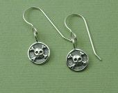 SALE jewelry Skull Crossbones Earrings - sterling silver gothic earrings - clearance jewelry