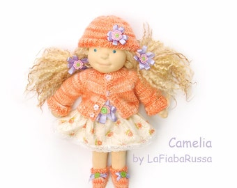 clothes for doll - dress , knitted sweater, shoes and hat 16 in waldorf doll   tecnic, made by LaFiabaRussa la fiaba russa