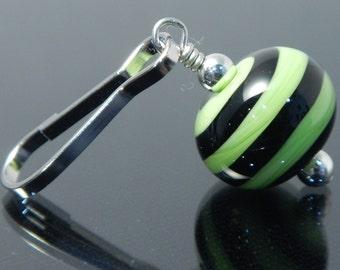 Zipper Pull, lime green, black, swirl, zipper pulls for purses, zipper pull charm, beaded zipper pull, decorative pull, artisan made