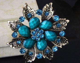"GB211 Turquoise Glass Rhinestone Brooch Pin Gold 2.5"" (GB211-tr)"