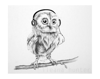 Little Musical Owl Pencil Drawing Nursery Children's Illustration Original Drawing SALE