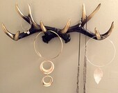 PICK YOUR COLOR faux deer antler rack jewelry organizer jewelry holder scarf organizer coat rack necklace organizer Black with gold tips