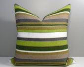 Striped Outdoor Pillow Cover, Lime Green & Grey Stripes, Decorative Throw Pillow Cover, Olive White and Gray Sunbrella Cushion Cover, Modern