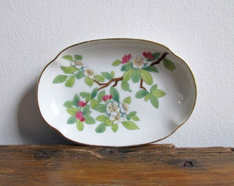 Vintage Cherry Blossom Soap Dish Jewelry Dish Catch All