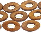 Brown Oval Donut Leather Beads 30mm (LB506)