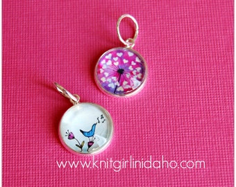 Songbird Hearts Charm Stitch Markers (Set of 2)