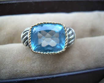Beautiful Large Faceted Genuine London Blue Topaz set in 18K yellow Gold and 925 Sz. 7