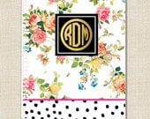 Custom Spiral Notebook - FLORAL Collection - Gold Effect Monogram - By A Blissful Nest
