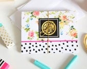 Monogram Note Card Set of 10 with Envelopes - FLORAL Collection - By A Blissful Nest