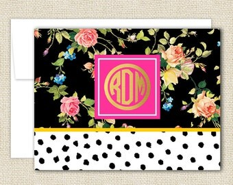 Personalized Note Card Set of 10 with Envelopes - FLORAL Collection - By A Blissful Nest