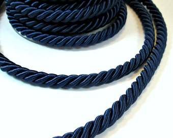 Twisted silk cord, 9mm, navy blue satin rope, 1 meter