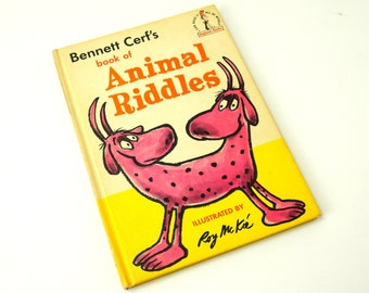 Bennett Cerf's Book of Animal Riddles 1964 Hc / Vintage Seuss 'I Can Read It All By Myself' Beginner Childrens Books