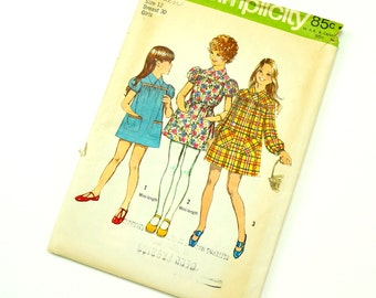 Vintage 1970s Girls Size 12 Smock Dress in Two Lengths Simplicity Sewing Pattern 5108 Complete / chest 30 waist 25.5