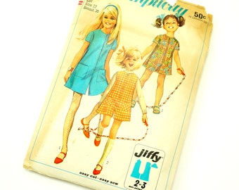 Vintage 1960s Girls Size 12 Jiffy Mod Pantdress or Pantjumper Simplicity Sewing Pattern 7406 Complete / breast 30 waist 25