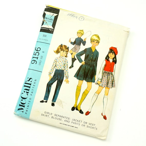 Vintage 1960s Girls Size 8 Separates McCalls Sewing Pattern 9156 / Jacket or Vest, Skirt, Blouse and Pants or Shorts / Complete