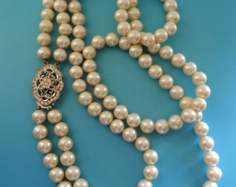 1960s Return to Elegance Spectacular  2 Strand cascade Pearl Necklace-Large lustrous 10mm Pearls  & fine large 800 silver clasp- Art.675/3-