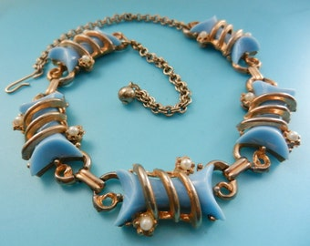 Original 1950s Vintage  caged Blue turquoise THERMOSET & simulated Pearl Necklace - so glamour Choker Necklace - Art.746/3 -