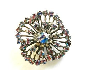 Exquisite 50s Vintage  RAINBOW/IRIS  Art Glass rhodium plated European brooch  --.Art.249/2 -