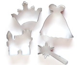 Princess Cookie Cutter Set - Gown, Wand, Crown & Castle Cookie Cutters (Set of 4)