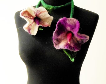 SALE felt flowers purple and white summer necklace lariat, eco friendly