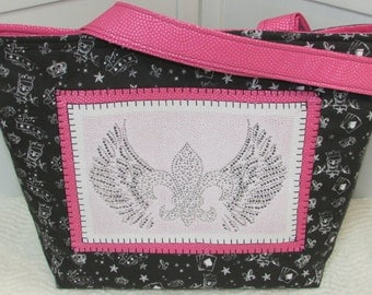 Rhinestone Fleur De Lis Large Tote Bag Pink and Black Purse Ready to Ship