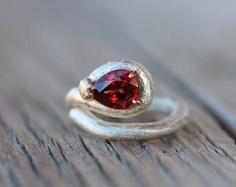 Dark Red Zircon Om Symbol Silver Ring Gold Unique - Tamil Om