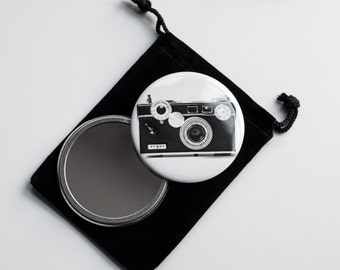 """The Argus C3 (1939–1966) - Vintage Camera Photograph- Pocket Mirror - 2.25"""" with Velvet Pouch"""