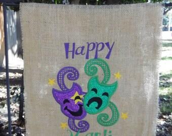Mardi Gras Yard Flag/Yard Flag/Burlap Yard Flag/Garden Flag/Mardi GrasGarden Flag/Holiday Yard Flag/Happy Mardi Gras Garden Flag