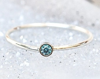 14k gold Blue Diamond Stacking Ring -Wedding Ring - Engagement Ring - Diamond Promise Ring - 14kt White or Yellow Gold Ring