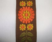 Vintage orange brown & green Flower Embroidered Trim •  over 5 yards long X 1 1/4 inch wide