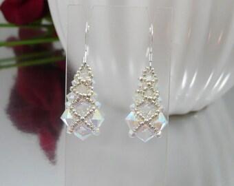 Woven Earrings in Swarovski ABx2 Crystal