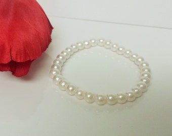 Barely Pink 6mm Glass Pearl Bracelet for Bridesmaid, Flower Girl or Prom