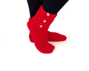 Christmas Gift, Handmade Socks, Women Socks,Knitting Socks, Red Socks