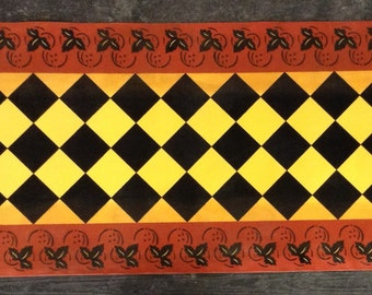 Custom Canvas Floorcloth - Colonial Leaf Design - Red, Black, and Yellow - Area Rug