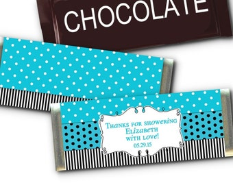 Set of 12 Candy Bar Wrappers, Wedding Favors, Baby Shower, Bridal Shower, Birthday, Pink and Black, Blue and Black