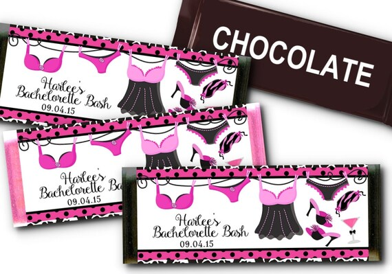 12 Candy Bar Wrappers, Party Favors, Hot Pink and Black, Animal Print, Bridal Shower, Lingerie Shower, Bachelorette Party