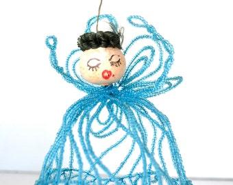 Vintage Hand Beaded Christmas Angel with Spun Head Blue