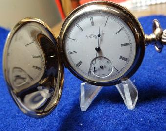 Pretty 1901 Elgin Ladies 6 Size 15 Jewels Hunting Case Pocket Watch