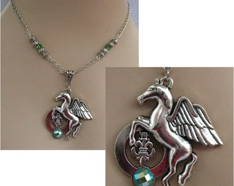 Silver Pegasus Horse Necklace Jewelry Handmade NEW Chain Accessories Chain Pendant Green
