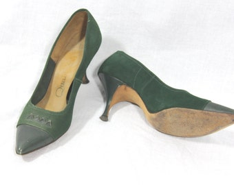 1950's Vintage Shoes - Lovely Green Suede Heels