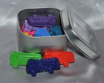 Fire Truck Shaped Crayons in Keepsake Tin, Total of 14 Fire Truck Crayons.  Boy or Girl Kids Unique Party Favors, Crayons.