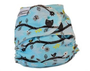 Fitted Cloth Diaper, OS, Flannel - Owls, aqua