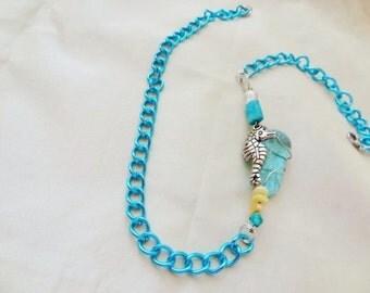 Sadie the Seahorse pretty Asymmetrical necklace in Aqua blue