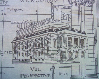 Passport Etchings Architectural Drawing Aqua 3 Sisters Moda Cotton Fabric Yard