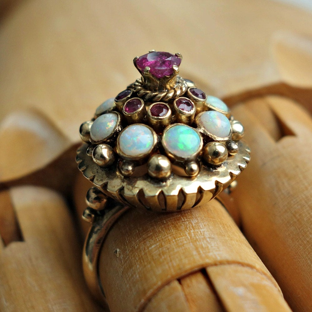 reserved ruby opal gold ring harem thai princess style