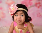 Shabby Rose Headband. Gold Chevron. . Baby Headbands. Pink Headband. Girls Headbands