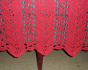 Crocheted  Afghan - Blanket - Coverlet - Throw - Bedspread  - XLarge   ''LACY RIPPLE''  in Coral
